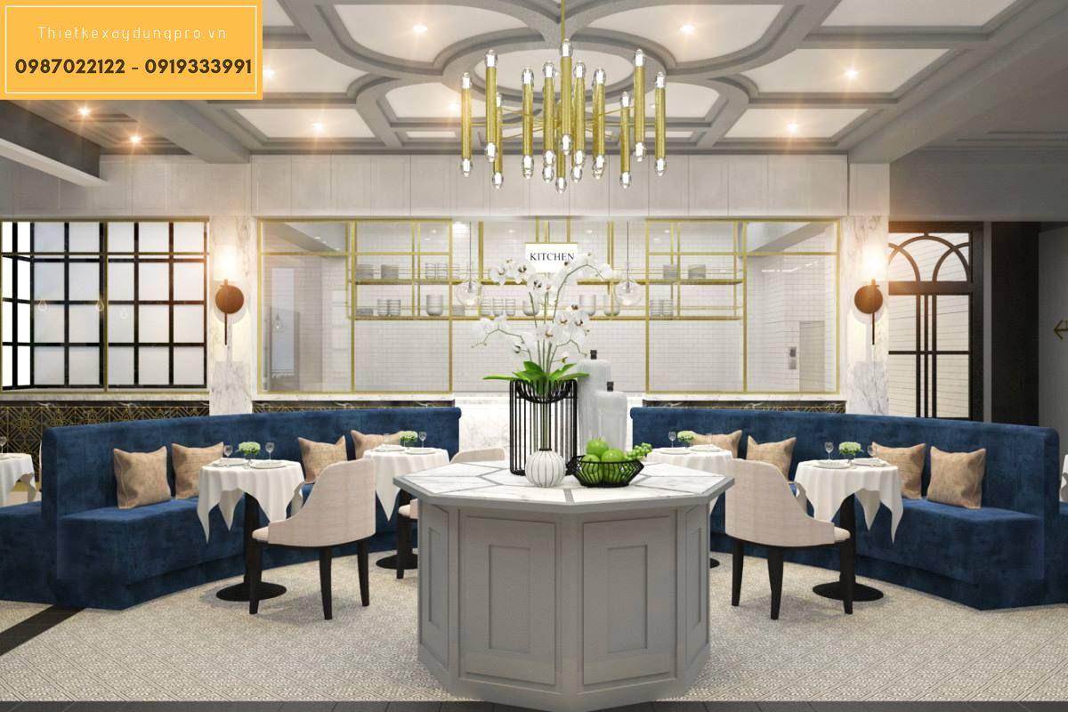 thiết kế nhà hàng tiệc cưới với không gian bàn ghế sang trọng